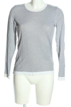 H&M Rundhalspullover weiß-schwarz Streifenmuster Casual-Look