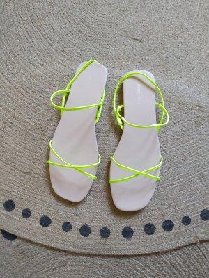 H&M Sandale Sandalen Sandalette Neon Gelb