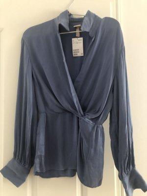 H&M Blusa cruzada azul celeste-azul aciano