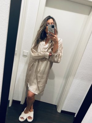 H&M Satin Blusen Kleid Gold Champagner beige