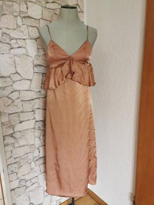 H&m satin träger kleid mit Volant nude gr 36