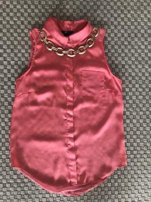 H&M Satinbluse ärmellos rosa pink durchsichtig Kragen