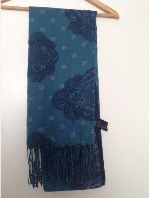 HM Écharpe à franges bleu pétrole polyester