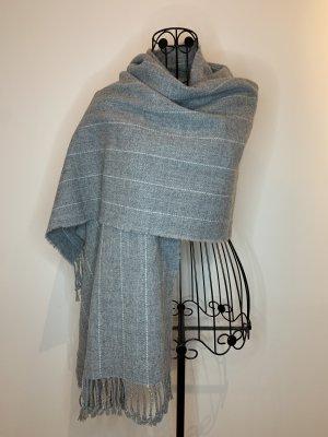 H&M Bufanda de flecos gris-blanco