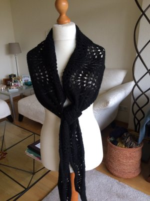 H&M Crochet Scarf black wool