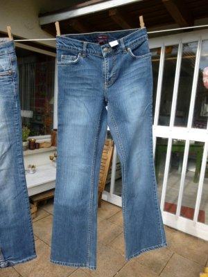 H&M Jeansowe spodnie dzwony stalowy niebieski