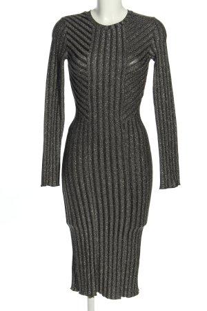 H&M Sukienka tuba czarny-jasnoszary Warkoczowy wzór W stylu biznesowym