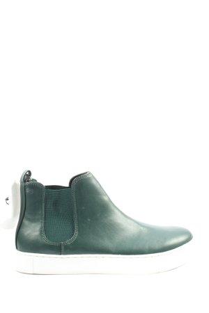 H&M Schlüpf-Stiefeletten blau-weiß Casual-Look