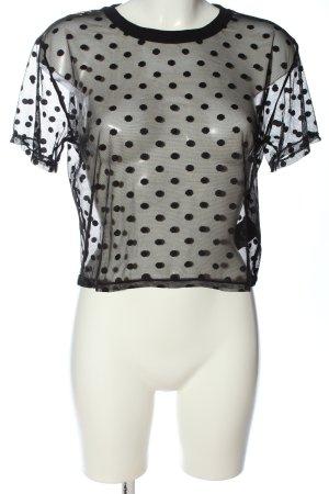 H&M Netzshirt schwarz Allover-Druck Casual-Look
