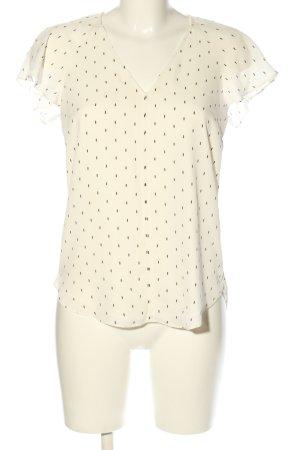 H&M Schlupf-Bluse creme-schwarz Allover-Druck Casual-Look