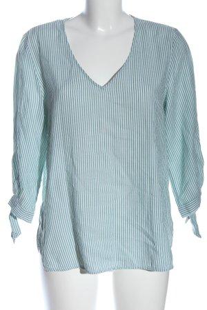 H&M Schlupf-Bluse weiß-khaki Streifenmuster Casual-Look