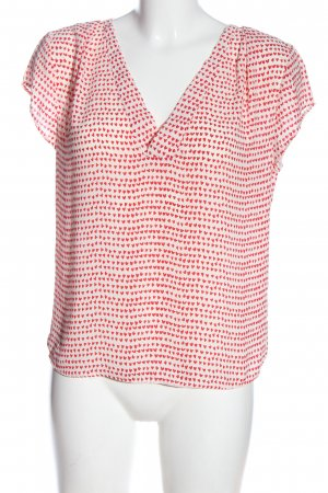 H&M Schlupf-Bluse rot-wollweiß Allover-Druck Casual-Look