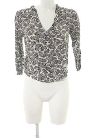 H&M Schlupf-Bluse weiß-schwarz Allover-Druck Casual-Look