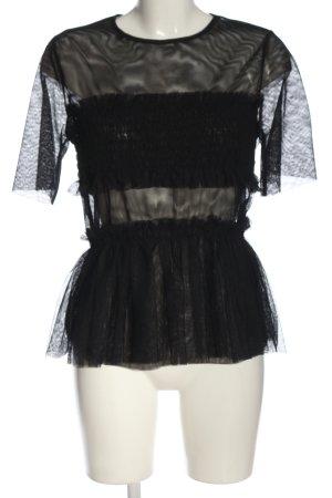 H&M Schlupf-Bluse schwarz Webmuster Casual-Look