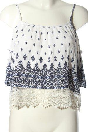 H&M Schlupf-Bluse weiß-blau grafisches Muster Casual-Look