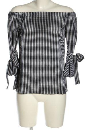 H&M Schlupf-Bluse schwarz-weiß Karomuster Casual-Look