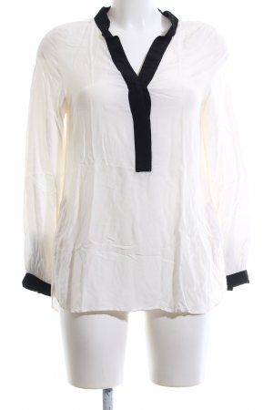 H&M Schlupf-Bluse schwarz-creme Casual-Look