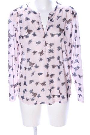 H&M Schlupf-Bluse pink Allover-Druck klassischer Stil