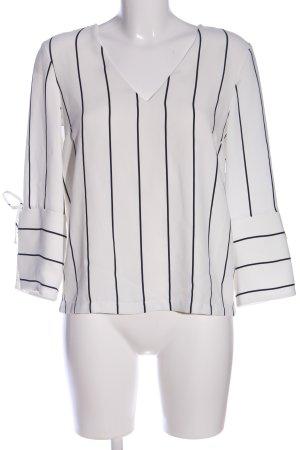 H&M Schlupf-Bluse weiß-schwarz Streifenmuster Business-Look