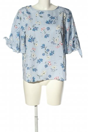 H&M Schlupf-Bluse blau-weiß Allover-Druck Casual-Look