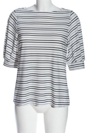 H&M Schlupf-Bluse weiß-schwarz Streifenmuster Casual-Look