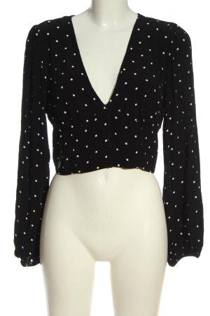 H&M Schlupf-Bluse schwarz-weiß Punktemuster Casual-Look