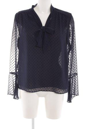 H&M Slip-over blouse blauw gestippeld patroon zakelijke stijl