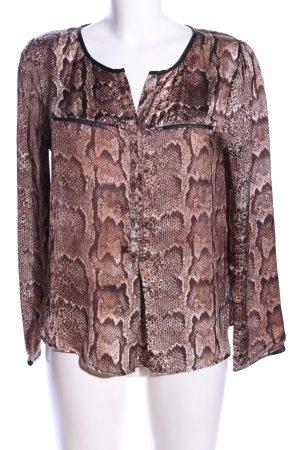 H&M Schlupf-Bluse braun Allover-Druck Elegant