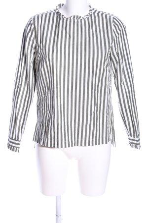H&M Schlupf-Bluse weiß-hellgrau Streifenmuster Casual-Look