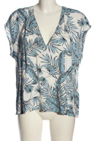 H&M Schlupf-Bluse weiß-blau Allover-Druck Casual-Look