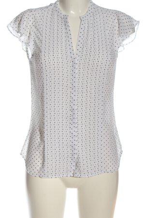 H&M Schlupf-Bluse weiß-schwarz Punktemuster Casual-Look