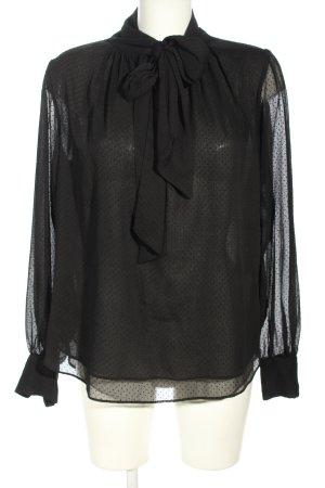 H&M Blusa con lazo negro estampado a lunares elegante