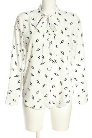 H&M Schluppen-Bluse weiß-schwarz Allover-Druck Business-Look