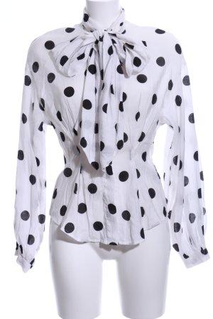 H&M Schluppen-Bluse weiß-schwarz Punktemuster Casual-Look
