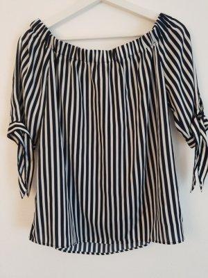 H&M Glanzende blouse wit-zwart