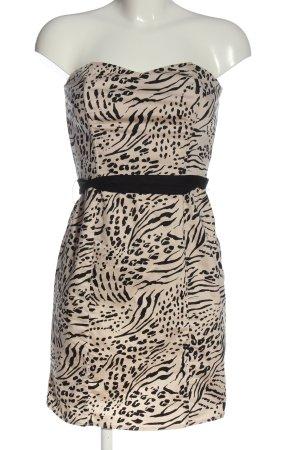 H&M schulterfreies Kleid creme-schwarz Animalmuster Casual-Look