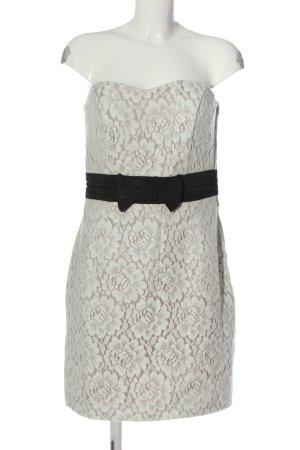 H&M schulterfreies Kleid wollweiß Blumenmuster Elegant