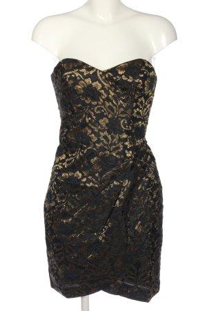 H&M schulterfreies Kleid schwarz-goldfarben Allover-Druck Elegant