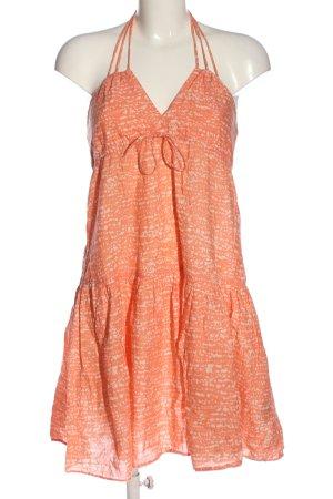H&M Vestido de cuello Halter naranja claro-blanco elegante