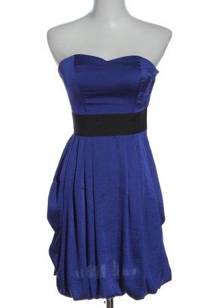 H&M schulterfreies Kleid blau-schwarz Casual-Look