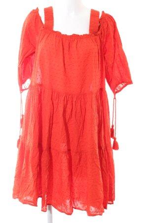 H&M schulterfreies Kleid rot Casual-Look