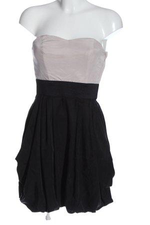 H&M schulterfreies Kleid wollweiß-schwarz Elegant