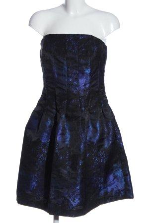H&M schulterfreies Kleid schwarz-blau abstraktes Muster Elegant