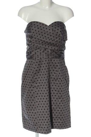 H&M schulterfreies Kleid hellgrau-schwarz Punktemuster Casual-Look