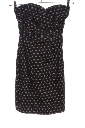 H&M schulterfreies Kleid schwarz-wollweiß Allover-Druck Casual-Look