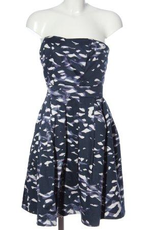 H&M schulterfreies Kleid blau-weiß Allover-Druck Elegant