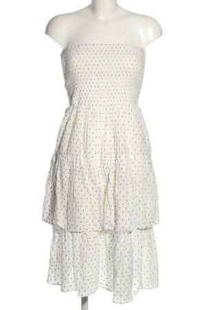 H&M schulterfreies Kleid weiß-schwarz abstraktes Muster Elegant