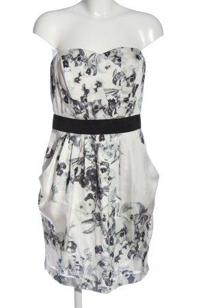 H&M schulterfreies Kleid weiß-schwarz Allover-Druck Elegant