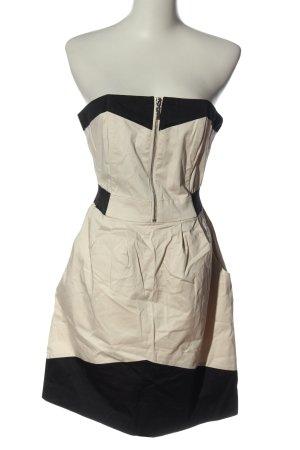 H&M schulterfreies Kleid creme-schwarz Elegant