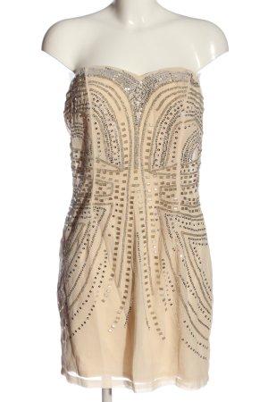 H&M schulterfreies Kleid creme grafisches Muster Elegant